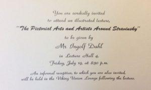 Einladung zu einer Vorlesung von Ingolf Dahl über Igor Strawinsky